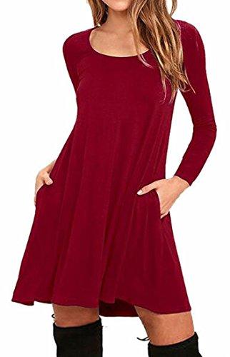 Jaycargogo Occasionnel Balançoire Lâche Solide Col Ras Du Cou À Manches Longues Des Femmes T-shirt Vin Robe Rouge