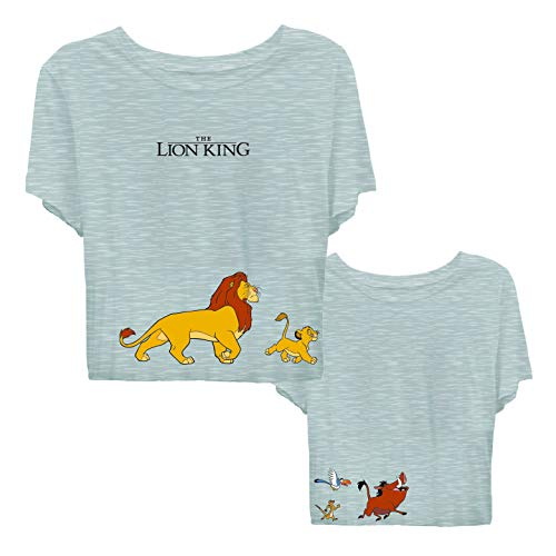 Disney Ladies Lion King Fashion Shirt - Ladies Classic Hakuna Matata Clothing Lion King Crop Top Tee (Grey Crop, Medium) ()