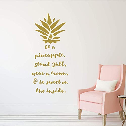 Be A Pineapple Wall Decal - Removable Vinyl Sticker Hawaiian Tropical Pineapple Design | Living Room, Kitchen, Dining Room, Bedroom Decor | Metallic Gold, Silver, Black, Yellow, Pink, 25 Colors