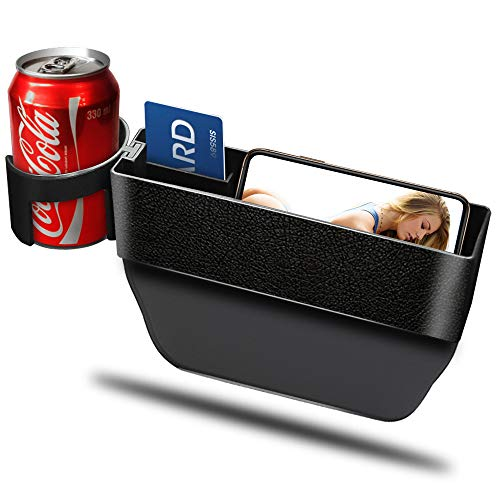 Car Cup Holder Organizer Seat Gap Filler with Leather Cover | Universal Console Side Pocket Seat Catcher Storage Box Cage for Cell Phone Drinks Key Wallet Phone Coins Sunglasses (Black)