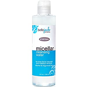 Micellar Cleansing Water by Bella Jade - Alcohol Free, No Rinse Facial Cleanser and Makeup Remover - For All Skin Types - Great for Travel, Post-Workout and Before Bedtime