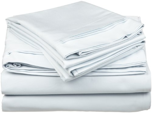 100% Egyptian Cotton 650 Thread Count, Twin 3-Piece Sheet Set, Deep Pocket, Single Ply, Solid, Light Blue