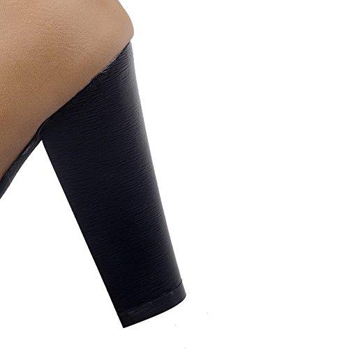 VogueZone009 Donna Bassa Altezza Puro Allacciare Punta Tonda Tacco Alto Stivali con Nodo, Albicocca, 42