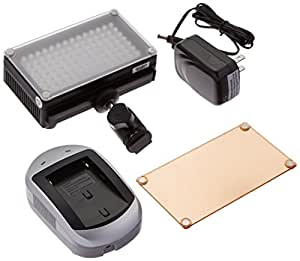 Fotodiox Pro LED 98A Video Light Kit with Dimming Switch, 1- Sony type Battery, Battery Charger, Removable Diffuser & Tungsten Gel