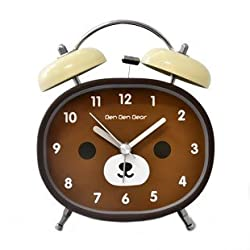 JustNile 4-inch Twin Bell Non-ticking Battery Operated Metal Loud Alarm Clock with Built-in Backlight, Cute Brown Bear Design