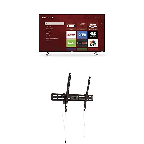 TCL 43S305 43-Inch 1080p Roku Smart LED TV (2017 Model) and AmazonBasics Heavy-Duty Tilting TV Wall Mount for 37-inch to 80-inch TVs