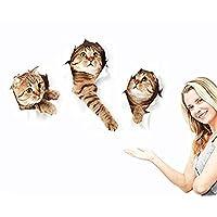 Calcomanías de pared 3D Pegatinas Decoraciones vívidas Murales (Cat) para habitación en casa Arte de la pared removible Calcomanías de pared para habitaciones de niños Decoración del hogar DIY (Cat)