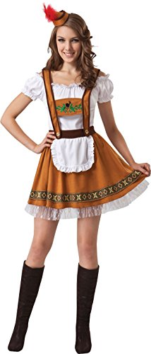 German Bar Girl Costume Uk (Adults Fancy Dress Party Oktoberfest German Country Bavarian Bar Girl's Costume)