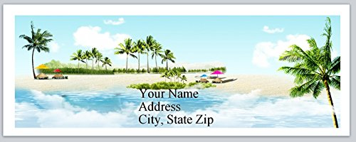 120 Personalized Address labels Scenic Beach Palm Trees Tranquil (P 261) ()