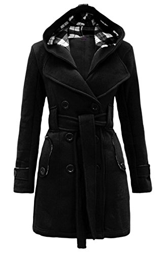 Ilishop Women's Check Double Breasted Hooded Coat with Belt Long Coats Black S-US6