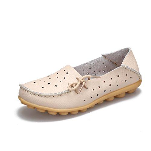 Zapatos genuino de cuero Beige planos Mocasines 9 de Slip Zapato Mujer Mocasines mujer On mujer ballet de Zapatos de Zapatos Zapatos qEqrxCn1