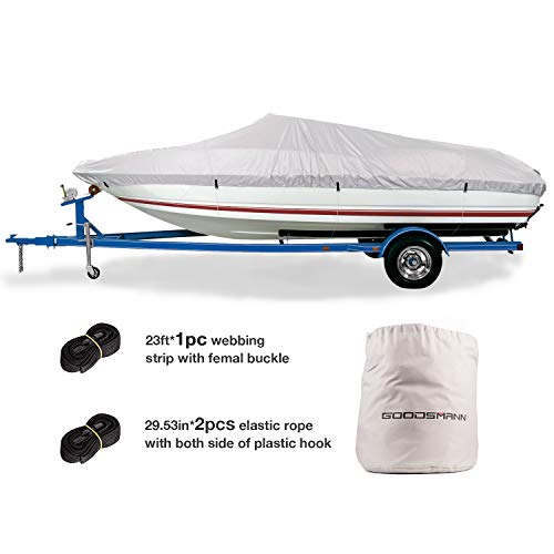 GOODSMANN Trailerable Marine Grade Boat Cover Heavy Duty 150D Fits V-Hull Fishing & Pro-Style Bass Boats D Fits 17'-19' V-Hull Boats, Beam Width to 96