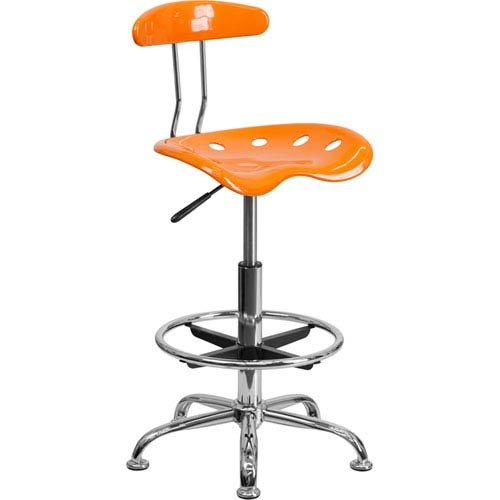 Parkside Vibrant Orange and Chrome Drafting Stool with Tractor Seat