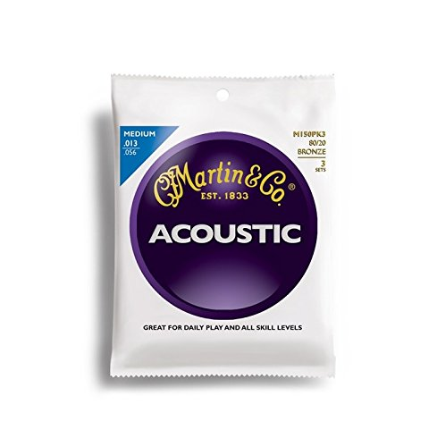 Martin M150 80/20 Acoustic Guitar Strings, Medium 3 Pack