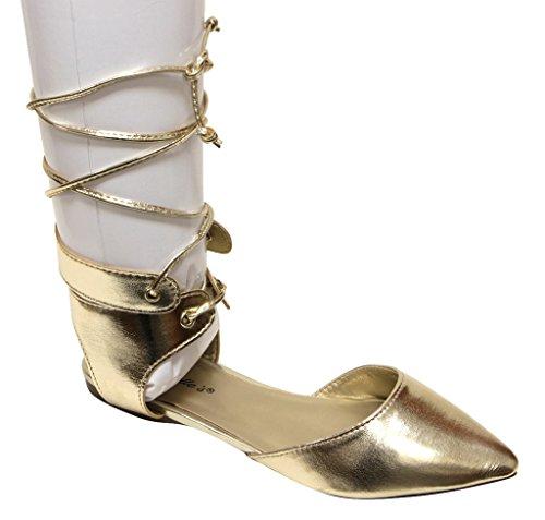 Breckelles Deanna-01 Donna Dorsay Mandorla Punta Corta Allacciatura Cravatta Lilly Wrap Flat Boots Champange