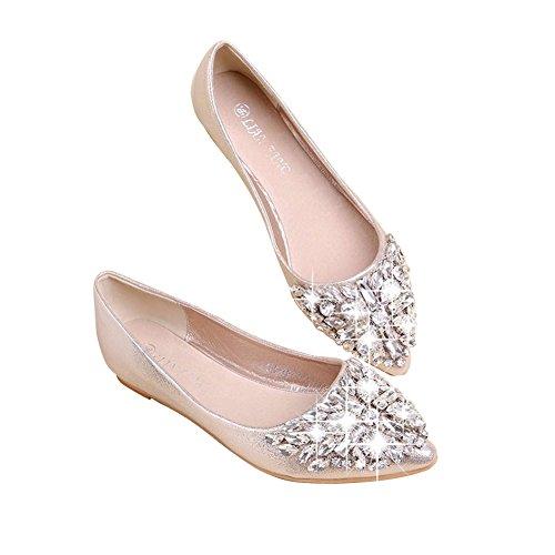 Minetom Mujer Chicas Moda Zapatos Apuntado Zapatos Plano El Bling Crystal Ballet Princesa Zapatos Dorado