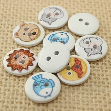 BoatShop 100pcs Mixed 2 Holes Animal Round Wooden Buttons Sewing Scrapbooking