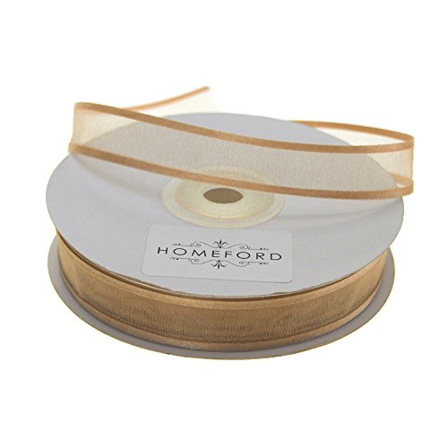 "Homeford FCR000SES0508690 Satin-Edge Sheer Organza Ribbon, 5/8"", Antique Gold"