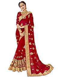 Triveni Georgette Red Wedding Embroidered Traditional Sarees