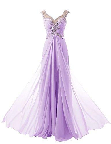 Ballkleid Abendkleid Ausschnitt Partykleid Lavendel Empire Beyonddress Cocktail Chiffon Damen V Lang awS0fpq