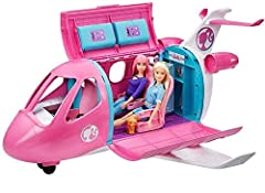 The Barbie Dreamplane is ready to help imaginations take off to anywhere! Kids can push it on its wheels to taxi on the ground or open up the top and side to reveal the inside and play out the ride. Realistic touches, like reclining seats, wo...