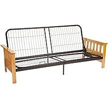 Epic Furnishings Berkeley Mission-style Futon Sofa Sleeper Bed Frame, Full-size, Natural Arm Finish