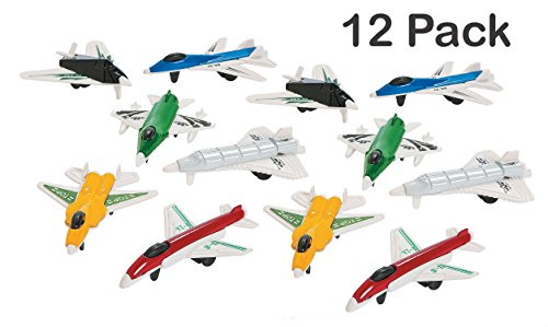Miniature Aircraft Usa - Mini Airplanes - Pack Of 12 - 2.25 Inches Assorted Colored Cool Jet Fighter Designs - For Kids Great Party Favors, Bag Stuffers, Fun, Toy, Gift, Prize - By Kidsco