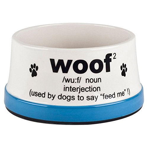 Dog Food Bowl Woof by American Kennel Club Definition Pet Water Food Cute Funny Unique Lovers