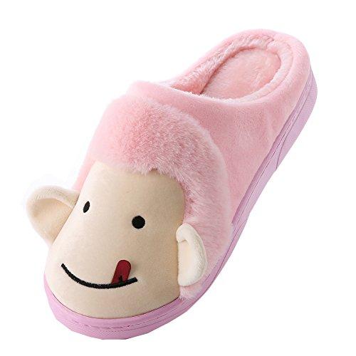 Dibujos animados mono algodón zapatillas de casa-Unisexo invierno calentar felpa Botín con los zapatos luz Rose