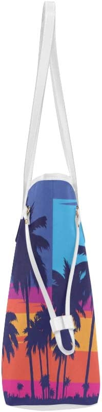 Shoulder Tote Bag Beach Palm Tree Evening Night Modern Tote Bag Womans Handbags Large Capacity Water Resistant with Durable Handle
