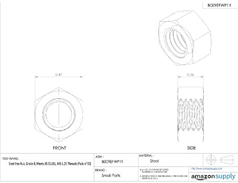 steel hex nut zinc plated finish class 8 jis b1181 m8 1 25 M6 Screw Dimensions steel hex nut zinc plated finish class 8 jis b1181 m8 1 25 thread size 12 mm width across flats 6 5 mm thick pack of 50 metric nuts amazon