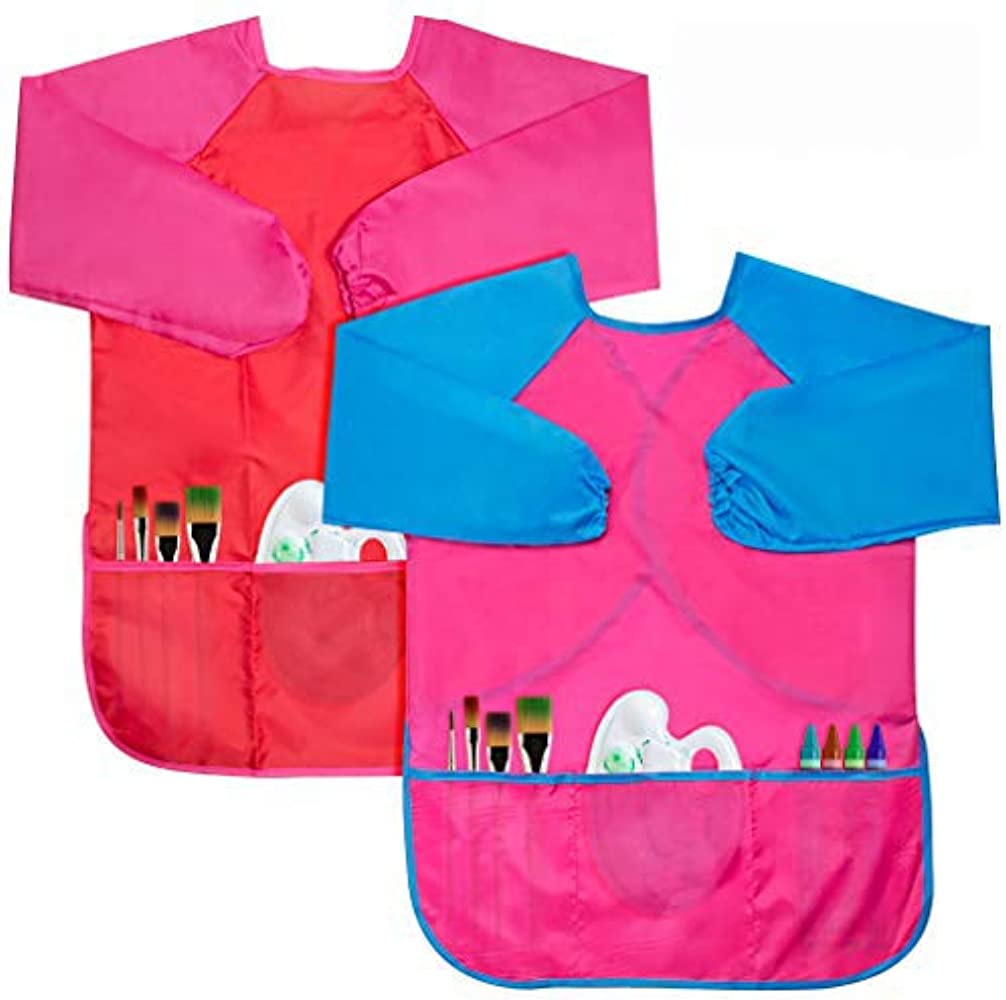 Polyurethane Coated Nylon Waterproof Material 70cm Size Approx Long Sleeve Children/'s Art And Craft Painting Apron Ages 9-11