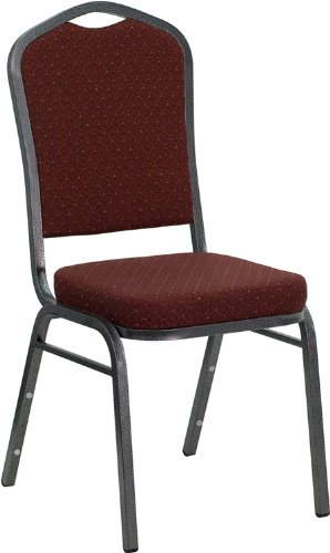 Flash Furniture HERCULES Series Crown Back Stacking Banquet Chair in Burgundy Patterned Fabric - Silver Vein Frame