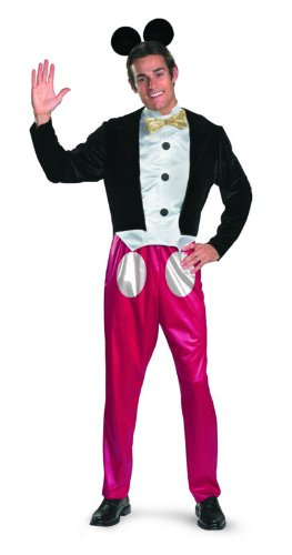 Disguise Mickey Mouse Deluxe Mens Adult Costume, Red/Black/White, X-Large/42-46 (Mickey Mouse Costume For Men)