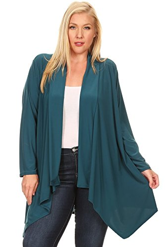 PB COUTURE Womens Plus Size Long Sleeve Maxi Cardigan Sweater Draped Open Front Flowy Hemline Solid Teal - 3X ()