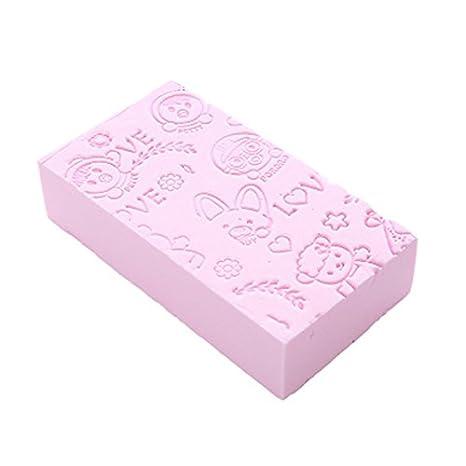 1pz Cartoon morbida spugna da bagno in tinta unita per bambini, adulti [giallo, verde, rosa, blu], colore rosa OPUSS