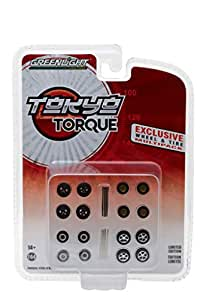 Greenlight 1:64 Tokyo Torque Wheel and Tyre Pack 16 Wheels, 16 Tyres and 4 Axles