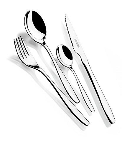 Monix Zurich - Set 24 piezas cubiertos de acero inox 18/10 con cuchillo chuletero y estuche Nogal (6 comensales)