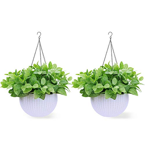 - Homes Garden 10.5 in. Dia Plastic Rattan Hanging Planter White (2-Pack) Flower Plant Hanging Basket for Home Office Garden Porch Balcony Wall Indoor Outdoor Decoration Gift #G723A00