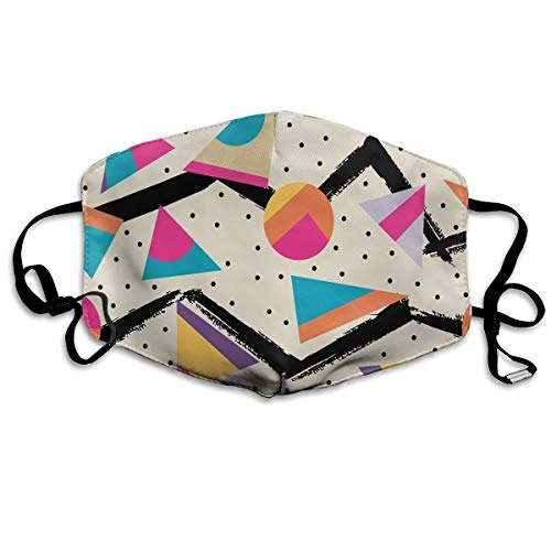 Rainbow Magnet Indie Geometry Flu Dust Washable Cute Mouth Face Mask with Carbon Filter Insert&Adjustable Straps, Dust Pollen Flu Germs Allergens Masks for Women Men ()