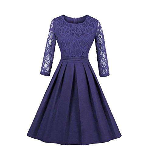Summer-lavender Women's Vintage Elegant O Neck 2/3 Sleeve Evening Lace Floral Dress,Blue,XXL ()