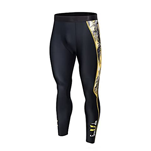 Firm abs Men Workout Compression Tights Running Leggings Black/Yellow L
