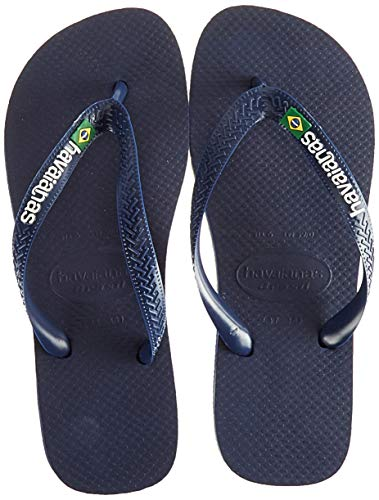 (Havaianas Women's Brazil Logo Flip Flop Sandal,Navy Blue, 37/38 BR(7-8 M US Women's / 6 M US)