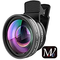 Movo 0.45X Professional (Crafted With Aluminum Alloy) Hd Camera Lens Kit 2 In 1 Wide Angle Lens Clip On Phone Lens For Iphone Or Android