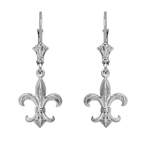 (Fleur-de-Lis Dangle Earrings 925 Sterling Silver)