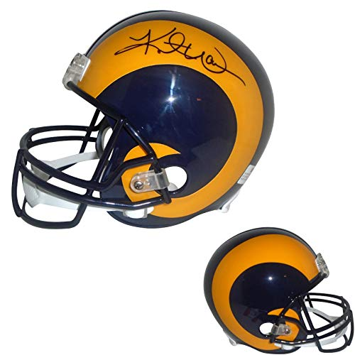 - Saint Louis Rams Kurt Warner Signed Hand Autographed St. Louis Rams Riddell Full Size Football Helmet with Exact Proof Photo of Signing and COA- Super Bowl XXXIV MVP