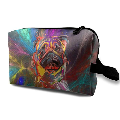 Wodehous Adonis Oil Painting Adorable Pet Dogs Pug Large Travel Cosmetic Pouch Bag Makeup Bags Portable With Zipper