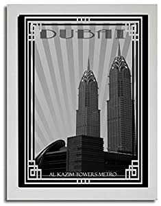 Al Kazim Towers Metro - Black And White With Silver Border F03-m (a4) - Framed