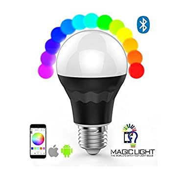 MagicLight® Plus - Bluetooth Smart LED Light Bulb - Smartphone Controlled Dimmable Multicolored Color Changing Lights - Works with iPhone, iPad, Android Phone and Tablet