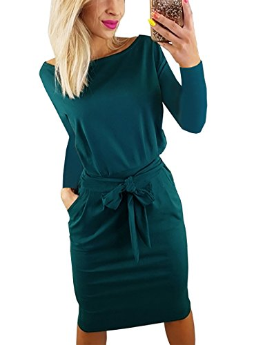 PRETTYGARDEN Women's 2018 Casual Long Sleeve Party Bodycon Sheath Belted Dress with Pockets (Y-Dark Green, Large)